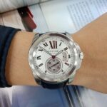 潤泰腕錶流當區 原裝 CARTIER 卡地亞 CALIBRE 簍空 不銹鋼 自動 男錶 9成5新 KR004