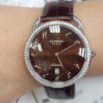 玖泰腕錶流當區 原裝 HERMES 愛馬仕 不鏽鋼 鑽圈 自動 男女錶 9成5新 喜歡價可議 ZR420